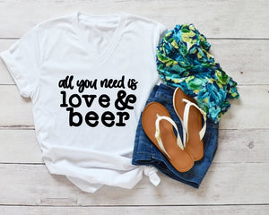 V-Neck T-Shirt - All You Need Is Love & Beer - thegiftkornershop