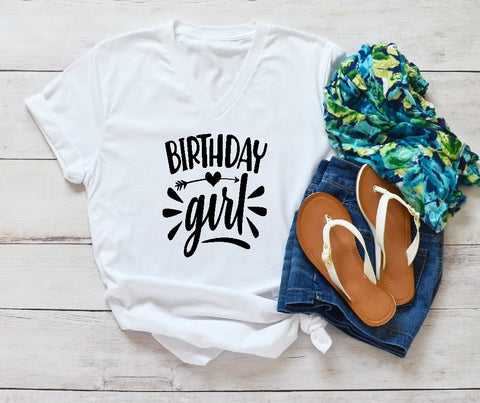 V-Neck T-Shirt - Birthday Girl - thegiftkornershop