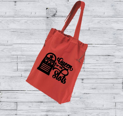 Drawstring Tote - Queen Of The Slots - thegiftkornershop