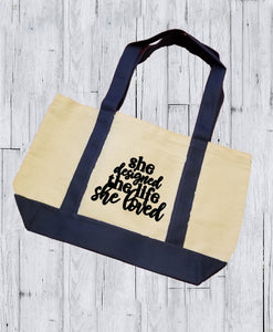 Canvas Tote Bag - She Designed The Life She Loved - thegiftkornershop