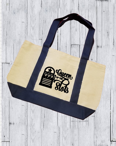 Canvas Tote Bag - Queen Of The Slots - thegiftkornershop