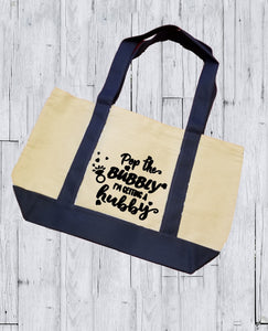 Canvas Tote Bag - Pop The Bubbly I'm Getting A Hubby - thegiftkornershop