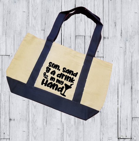 Canvas Tote Bag - Sun Sand And A Drink In My Hand - thegiftkornershop