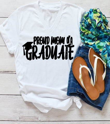 V-Neck T-Shirt - Proud Mom Of A Graduate - thegiftkornershop