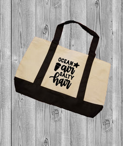 Canvas Tote Bag - Ocean Air Salty Hair - thegiftkornershop