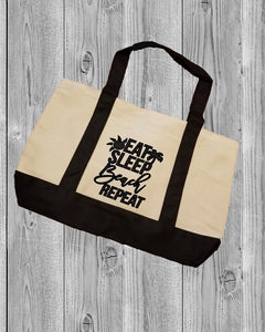 Canvas Tote Bag - Eat Sleep Beach Repeat - thegiftkornershop