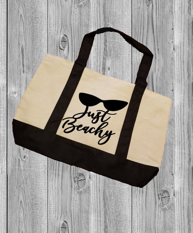 Canvas Tote Bag - Just Beachy - thegiftkornershop