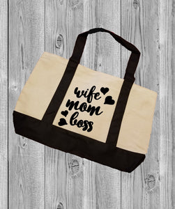Canvas Tote Bag - Wife Mom Boss - thegiftkornershop