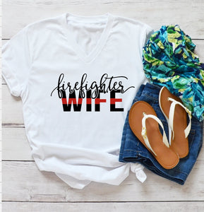 T-Shirt - Firefighter Wife (V-Neck or Unisex Classic Fit) - thegiftkornershop