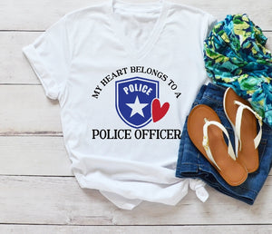 T-Shirt - My Heart Belongs To A Police Officer (V-Neck or Unisex Classic Fit) - thegiftkornershop