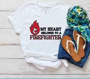 T-Shirt - My Heart Belongs To A Firefighter (V-Neck or Unisex Classic Fit) - thegiftkornershop