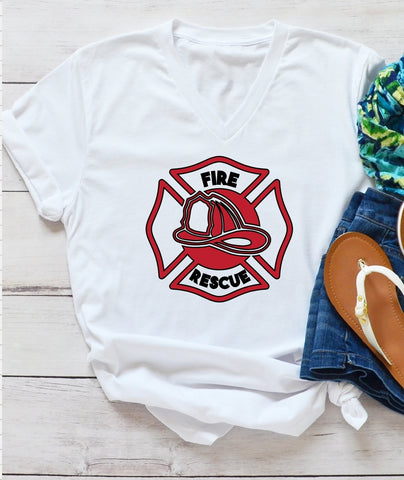T-Shirt - Fire Rescue  (V-Neck or Unisex Classic Fit) - thegiftkornershop