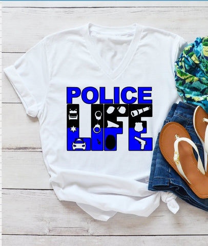 T-Shirt - Police LIFE (Police Officer) (V-Neck or Unisex Classic Fit) - thegiftkornershop