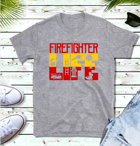 T-Shirt - Firefighter LIFE (V-Neck or Unisex Classic Fit) - thegiftkornershop