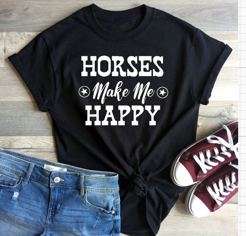 T-Shirt - Horses Make Me Happy - thegiftkornershop