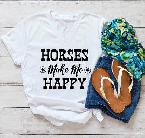 V-Neck T-Shirt - Horses Make Me Happy - thegiftkornershop