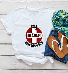 T-Shirt - My Lifeguard Walks On Water (V-Neck or Unisex Classic Fit) - thegiftkornershop
