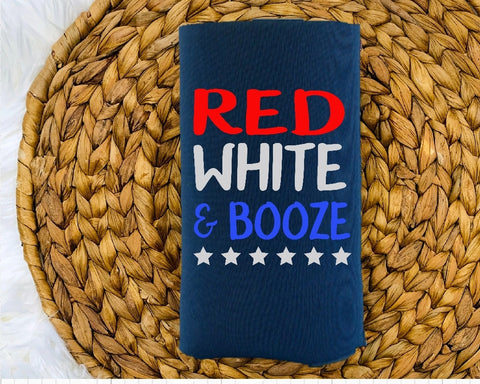 Insulated Can Holder (Koozie) - Red White & Booze - thegiftkornershop