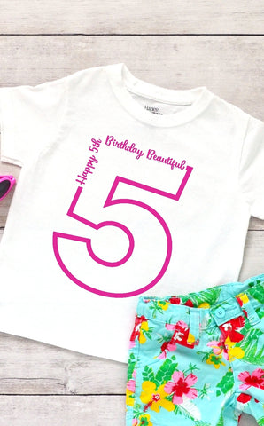 Toddler Softstyle Tee - Happy 5th Birthday Beautiful - thegiftkornershop