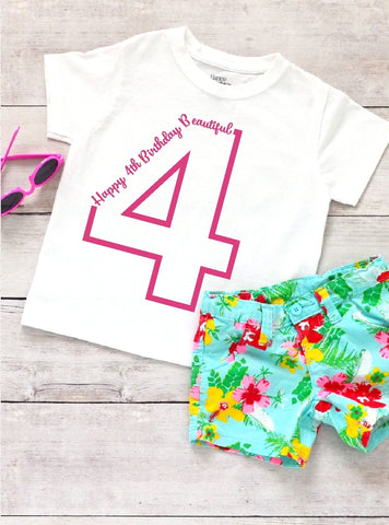 Toddler Softstyle Tee - Happy 4th Birthday Beautiful - thegiftkornershop