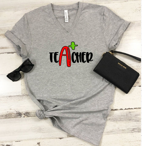 T-Shirt - A+ Teacher (V-Neck or Unisex Classic Fit) - thegiftkornershop