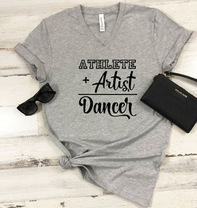 V-Neck T-Shirt - Athlete + Artist Dancer - thegiftkornershop