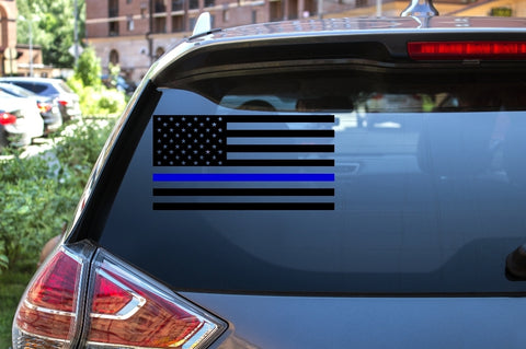 Car Window Decal - Police Flag (Blue Lives Matter) - thegiftkornershop