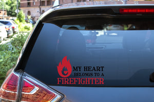 Car Window Decal - My Heart Belongs To A Firefighter - thegiftkornershop