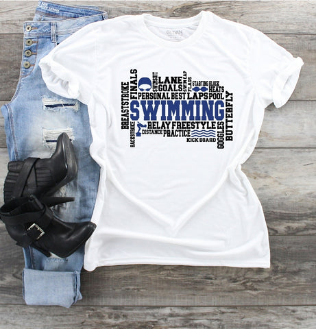 T-Shirt - Swimming (V-Neck or Unisex Classic Fit) - thegiftkornershop
