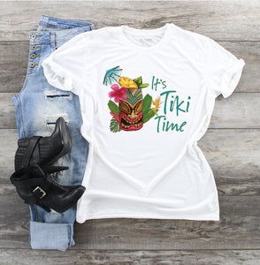 T-Shirt - It's Tiki Time (V-Neck or Unisex Classic Fit) - thegiftkornershop
