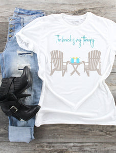 T-Shirt - The Beach Is My Therapy (V-Neck or Classic Fit) - thegiftkornershop