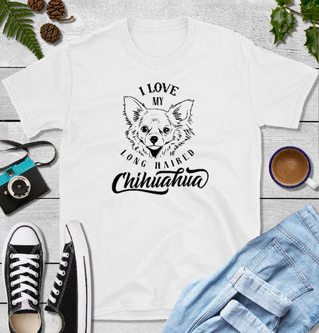 T-Shirt - I Love My Long Haired Chihuahua (Classic Fit or V- Neck) - thegiftkornershop