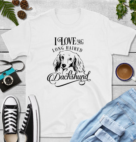 T-Shirt - I Love My Long Haired Dachshund (Classic Fit or V- Neck) - thegiftkornershop
