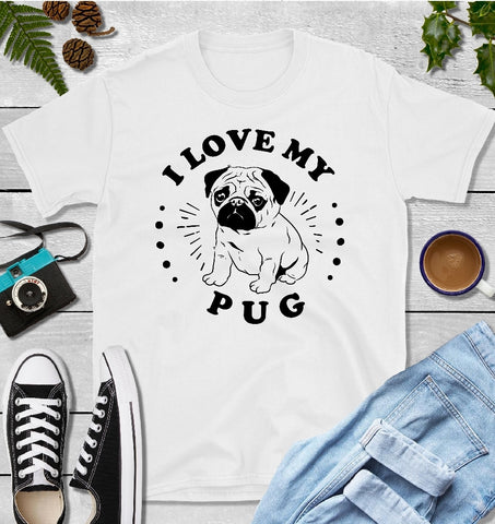 T-Shirt - I Love My Pug (Classic Fit or V- Neck) - thegiftkornershop