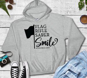 Hooded Sweatshirt - Flag Rifle Saber Smile #ColorGuard - thegiftkornershop