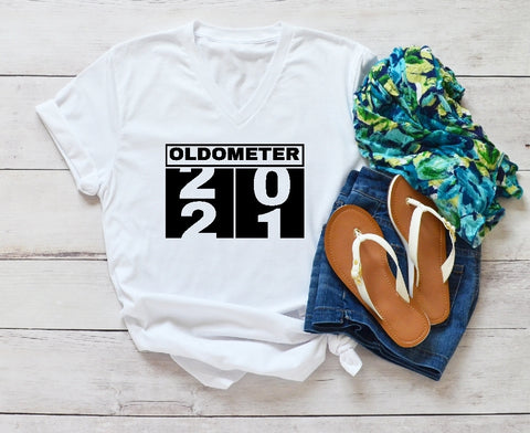 V-Neck T-Shirt - Oldometer 20/21 (21st Birthday) - thegiftkornershop
