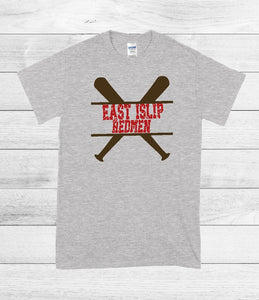 T-Shirt - East Islip Redmen (Distressed Font) (Baseball,Softball) - thegiftkornershop
