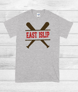 T-Shirt - East Islip (Baseball, Softball) (Distressed Font) - thegiftkornershop