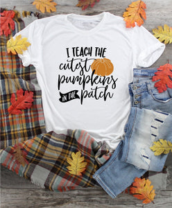 T-Shirt - I Teach The Cutest Pumpkins In The Patch (V-Neck or Unisex Classic Fit) - thegiftkornershop