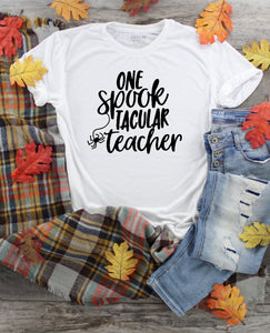 T-Shirt - One Spook Tacular Teacher (V-Neck or Unisex Classic Fit) - thegiftkornershop