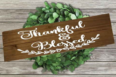 Home Wood Sign Wall Decor - Thankful & Blessed - thegiftkornershop