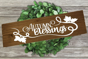Home Wood Sign Wall Decor - Autumn Blessings - thegiftkornershop