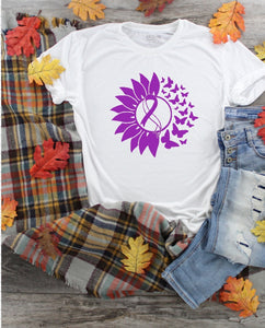T-Shirt -  Turner Syndrome Awareness Ribbons With Flower & Butterflies (V-Neck or Unisex Classic Fit) - thegiftkornershop