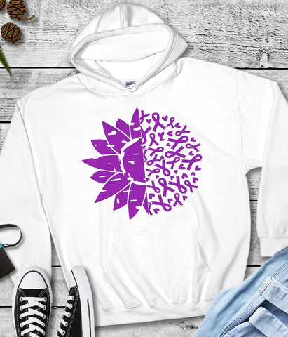 Hooded Sweatshirts - Turner Syndrome Awareness Ribbons & Flower - thegiftkornershop
