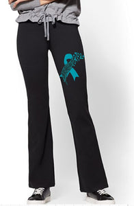 Yoga Pants - Cancer Awareness Ribbon - thegiftkornershop