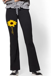 Yoga Pants - Blessed (Sunflower) - thegiftkornershop