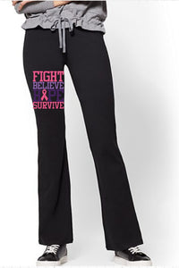 Yoga Pants - Fight Believe Hope Survive(Cancer Awareness) - thegiftkornershop