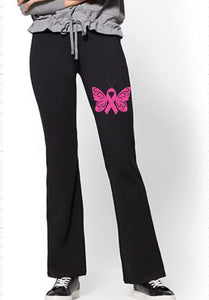 Yoga Pants - Cancer Awareness Butterfly & Ribbon - thegiftkornershop