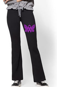 Yoga Pants - Turner Syndrome Awareness Butterfly - thegiftkornershop