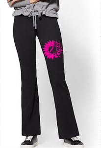 Yoga Pants - Cancer Awareness Flower & Butterflies - thegiftkornershop